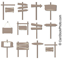 Image of various grayish brown wooden signs isolated on a white background.