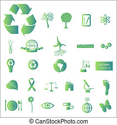 Image of various green eco-friendly icons isolated on a white background.