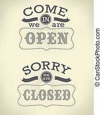 Image of various open and closed business signs isolated on a white background.