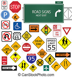 Image of various road signs isolated on a white background.