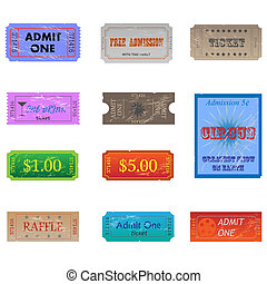 Image of various vintage and worn tickets.