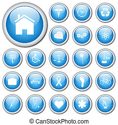 Image of various white icons on colorful blue buttons.