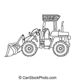 image of wheeled tractor vector isolate on white