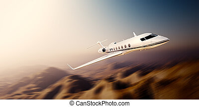 Image of white modern and luxury generic design private jet ...