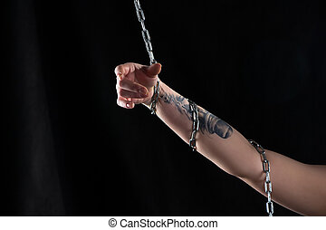 Image of woman's hand with chain