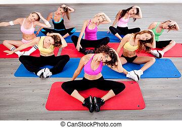 women doing floor excercise