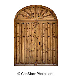 wooden antique door isolated on white background