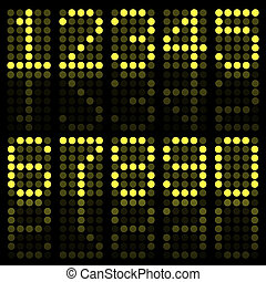 Image of yellow numbers on a dark background.