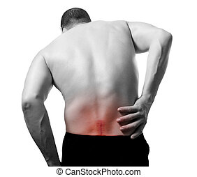 back pain - image of young man with back pain medical...