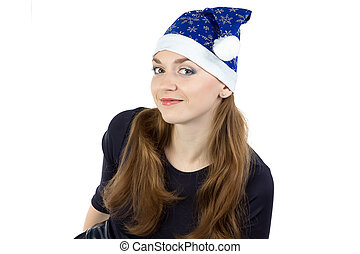 Image of young woman in christmas hat