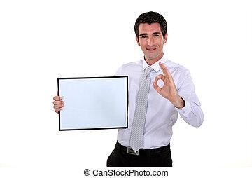 image, ok, cadre, tenue, confection, geste, homme