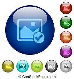 Image ok color glass buttons