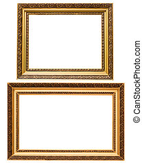 image, or, bois, isolé, plaqué, deux, cadres