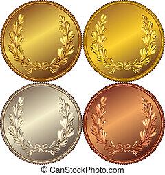 image, or, couronne, ensemble, médailles, argent, bronze, laurier