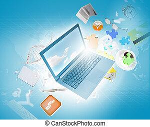 image, ordinateur portable, fond