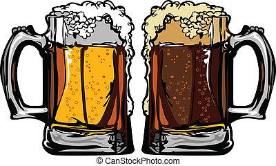 image, ou, grandes tasses, vecteur, bière, racine