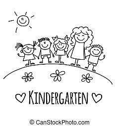 image, ou, jardin enfants, gosses, école
