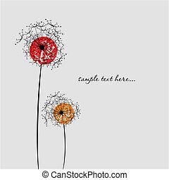 image., paardenbloem, valentine`s, vector, achtergrond, dag