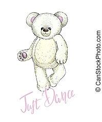 image, peluche, blanc, vecteur, ours, teddy, danse