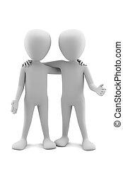 image., persone, fondo, friends., piccolo, bianco, 3d