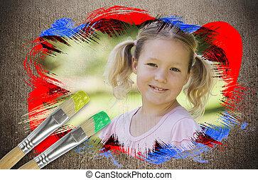 image, petite fille, composite, parc, sourire