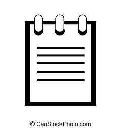 image, pictogramme, bloc-notes, icône