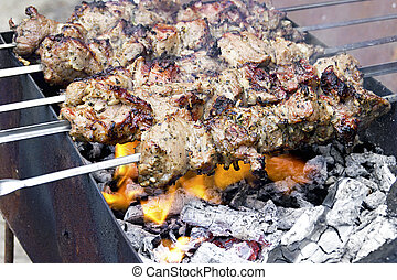pieces of meat roasted on a spit over charcoal