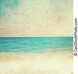 image, plage., retro, sablonneux