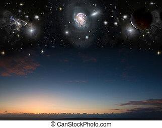 image, planètes, nuit, éléments, nasa., coucher soleil, ceci, ciel, paysage, campagne, meublé, gov