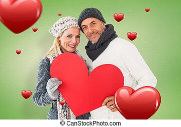 image, pose couples, mode, hiver, composite, sourire
