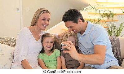 image, prendre, famille