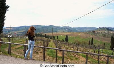 image, prendre, girl, paysage, tuscanian