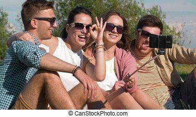 image, prendre, parc, crosse, amis, selfie