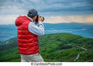 image, prendre, photographe, paysage, montagnes