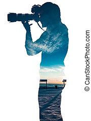 image, prendre, professionnel, paysage, photographe