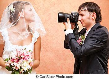 image, prendre, sien, mari, épouse