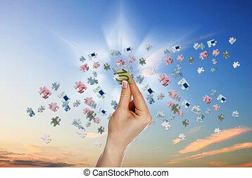 image, puzzle, billet banque