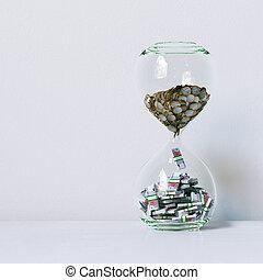 image, render, argent., conceptuel, temps, intérieur, blanc, 3d