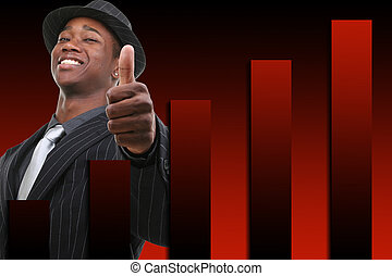 Image Request - Businessman With Thumb Up Over Rising Graph...