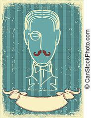 image, retro, papier, vieil homme, figure, mustache.