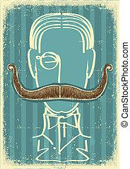 image, retro, papier, vieil homme, mustaches.