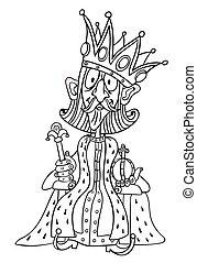 image, roi, dessin animé, couronne, énorme