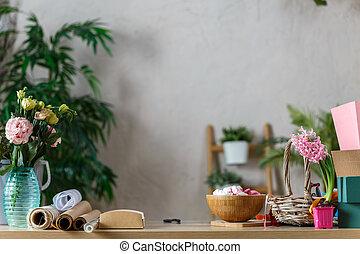 image, salle, guimauve, vase, fleurs, florist's