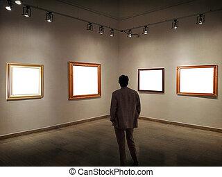 image, salle, regarder, cadres, galerie, vide, homme