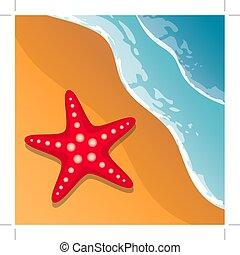 image., sand., starfish., shore., バックグラウンド。, ベクトル, 海, 波, 浜