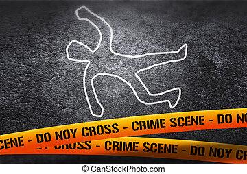 image, scène crime, victime