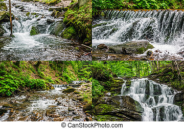 image set of cascades on the forest river