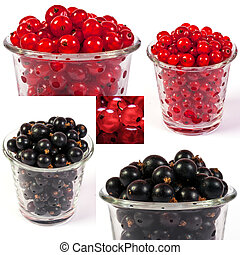 image set of red and black currant in a glass in different...