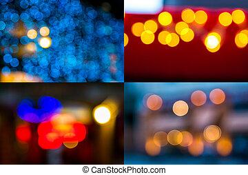 image set of street light blurs - image set of colorful...