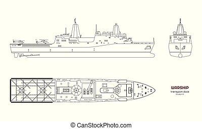image, ship., model., boat., vue., militaire, isolé, dessin, cuirassé, côté, devant, industriel, sommet, uss, contour, navire guerre, 3d